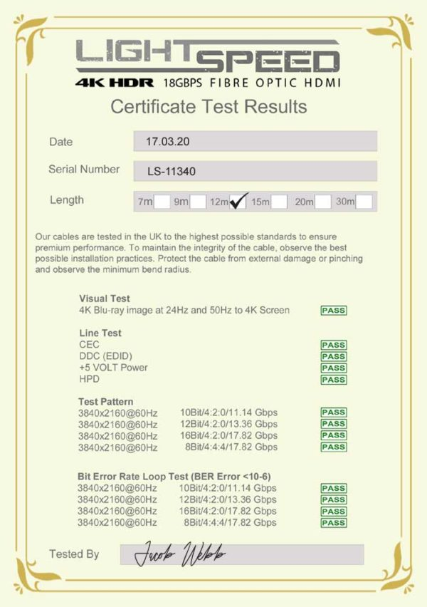 Lightspeed Certificate